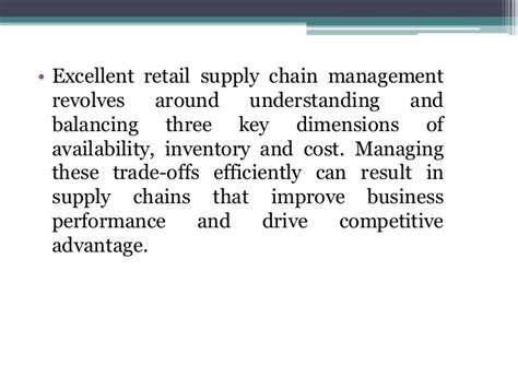 Mba In Retail And Supply Chain Management by Retail Management