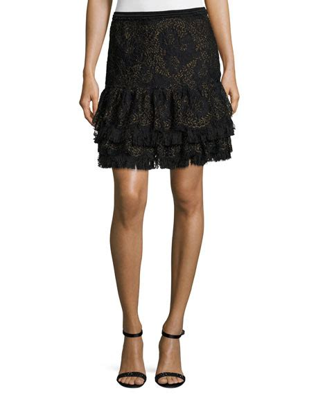 Ruffled Tweed A Line Miniskirt elie tahari chantelle ruffled miniskirt black neiman