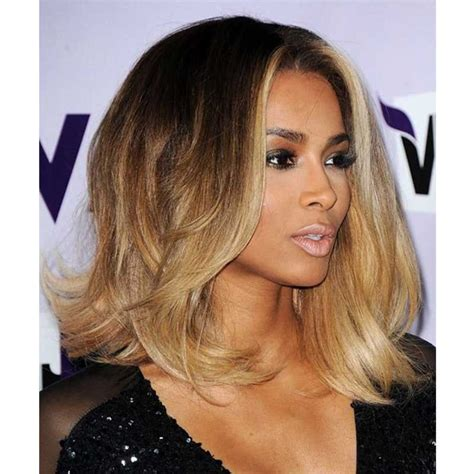 front hair blonde black hair dark ciara inspired ombre blonde color wavy short bob lace