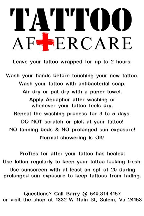 tattoo care directions image gallery tattoo care