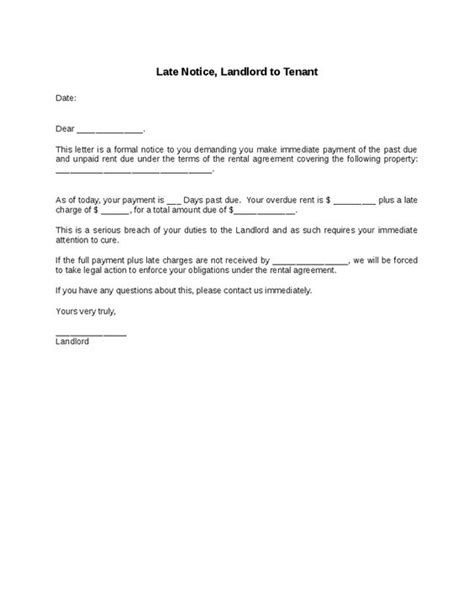 Release Letter To Tenant Late Notice Landlord To Tenant Hashdoc Letter To Tenant To Pay Rent Real State
