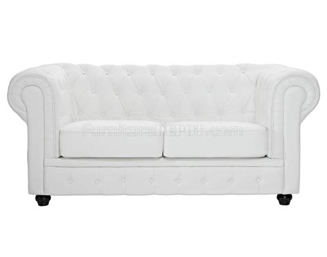 chesterfield sofa white chesterfield sofa in white leather by modway w options