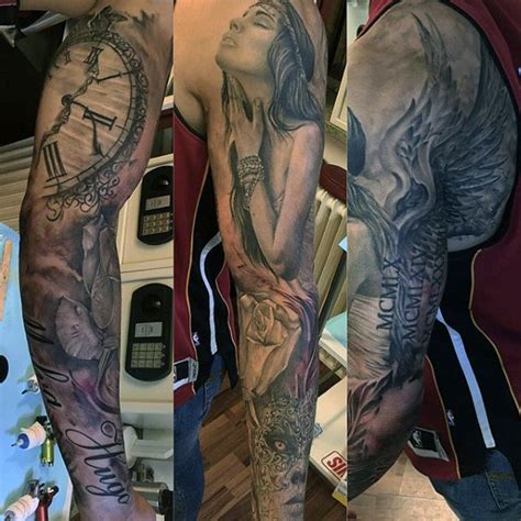 tattoo angel and clock 75 remarkable angel tattoos for men ink ideas with wings