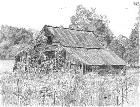 Log Cabin Shower Curtain - old barn 4 drawing by barry jones