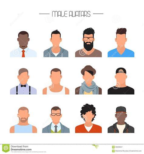 dofferent styles of the crunch haorstyle mannelijke avatar pictogrammen vectorreeks mensenkarakters