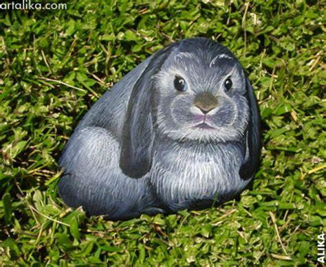 alika greyblack painted rock grey black lop bunny alika kalaida