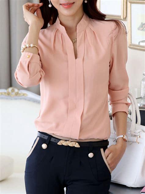 Azeanita Plain Longsleeve Blouse split neck plain chiffon sleeve blouse fashionmia