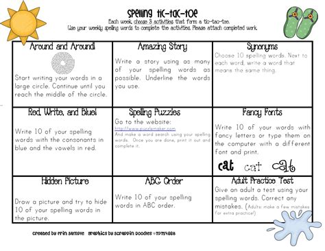 printable spelling games for year 5 sle s superstars spelling tic tac toe for each month