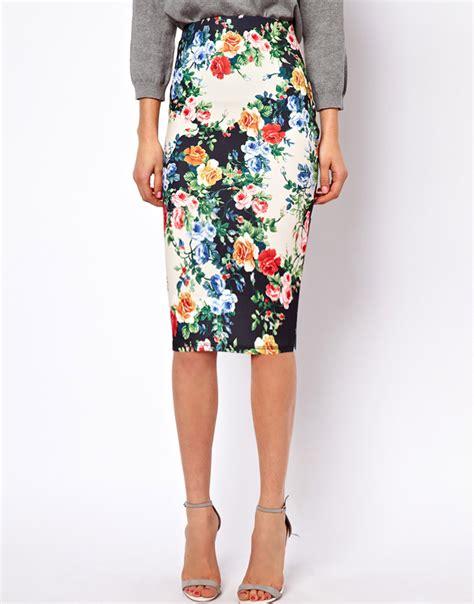 Flower Skirt Rok asos pencil skirt in floral print in green lyst