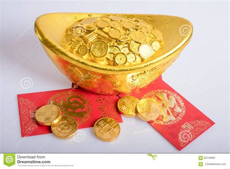 new year coin envelopes new year gold coins stock image image 65749081
