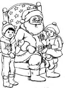 dibujos de navidad pap noel gracioso para colorear ni 241 os sentados sobre papa noel