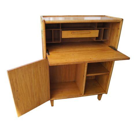 Vintage Bleached Wood Danish Style Secretary Desk Ebay Secretarial Desk
