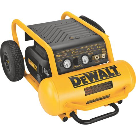 dewalt portable electric air compressor 1 6 hp 4 5 gallon horizontal 5 2 cfm model d55146