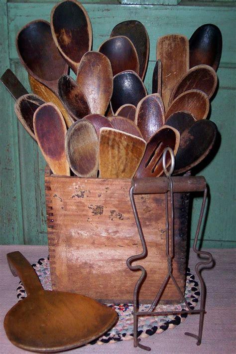 images  vintage wood spoons  pinterest