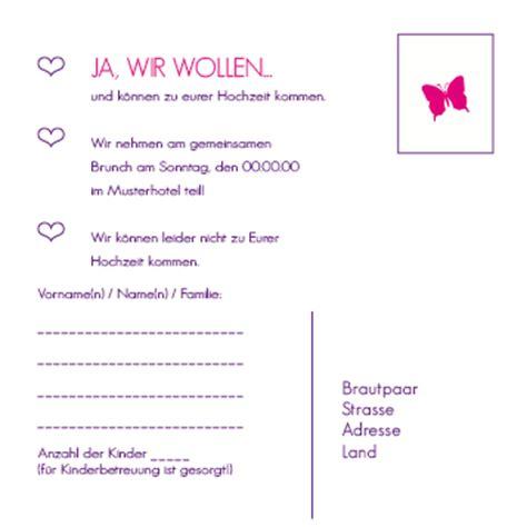 Hochzeitseinladung Antwortkarte by Antwortkarten Kleiner Schmetterling