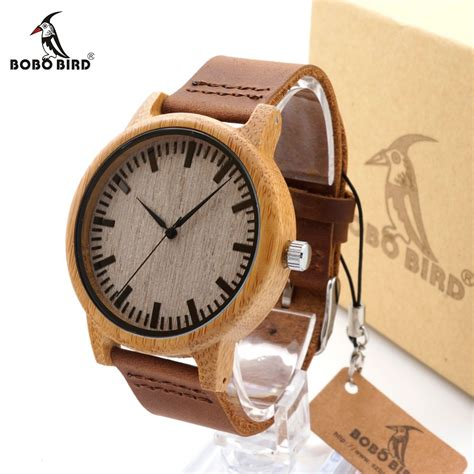 ladaires en bois bamboo wood quartz watches with scale soft leather straps goodyy woodyy