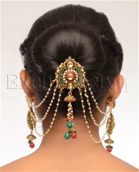 multi stone hair pin with earrings | indian jewellery