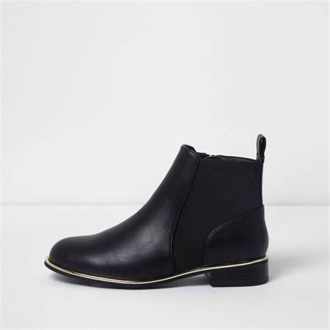 Trim Boots black gold tone trim chelsea boots boots