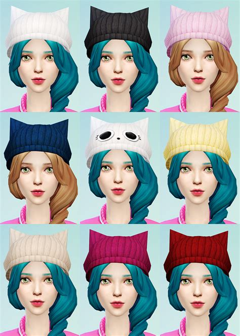 Cat Ear Beret knit beret and cat ear beanie jsboutique sims 4