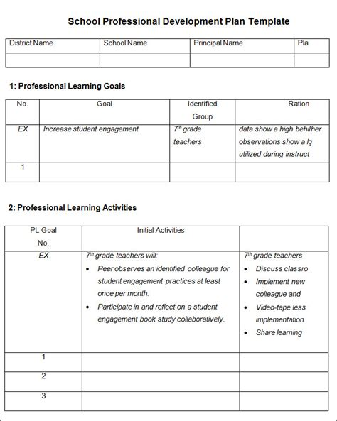 professional development plan template 9 free word