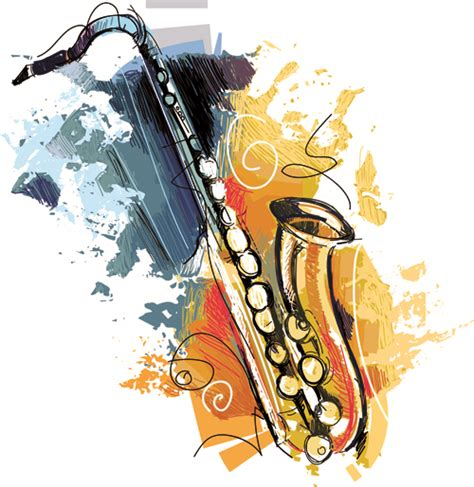 hand drawn colored musical instruments vector 02 vector