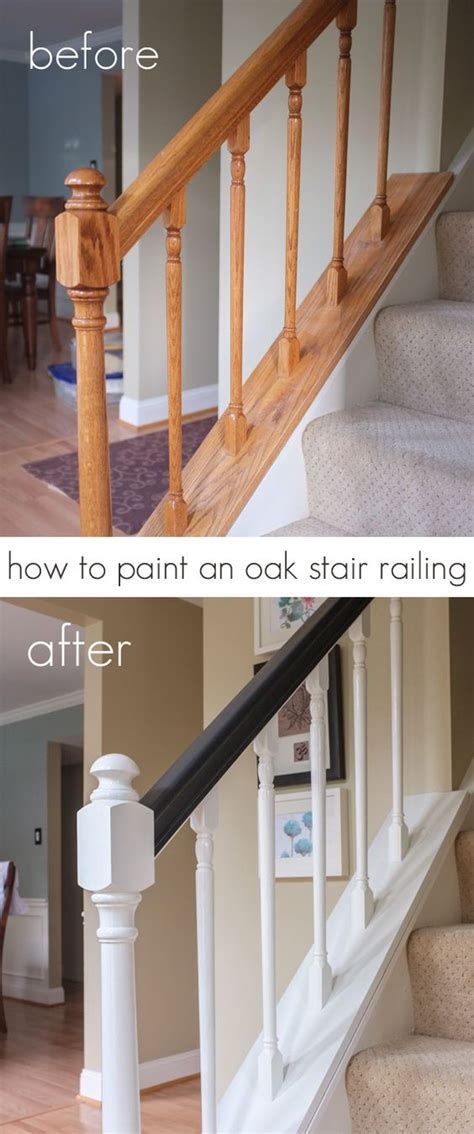 how to paint stair banisters railings how to paint oak stair railing black and white the two