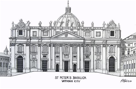 Drawing House Plans Online st peter s basilica drawing by frederic kohli