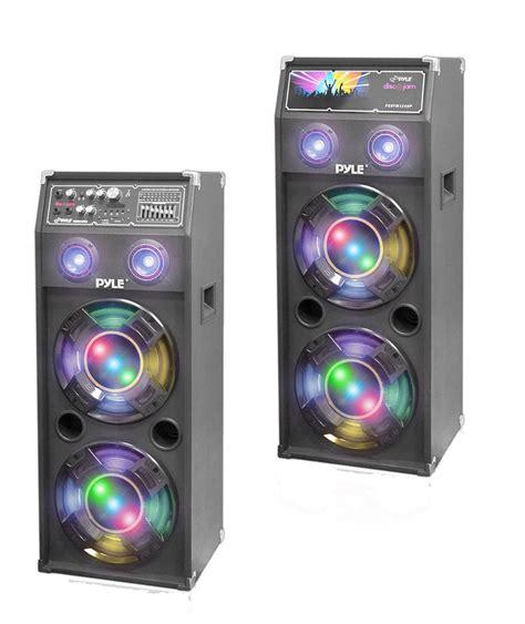 dj 1400w 2way pa usb fm light up speakers pyle 1400 dual