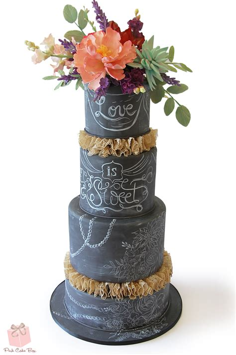 Chalkboard Inspired Rustic Chic Wedding Cake Fall