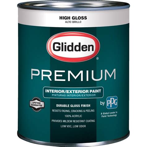 gloss paint glidden premium 1 qt high gloss interior and exterior paint gl7111 04 the home depot