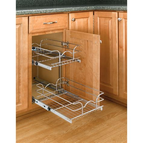 cabinet organizers pull out shop rev a shelf 11 75 in w x 19 in h metal 2 tier cabinet