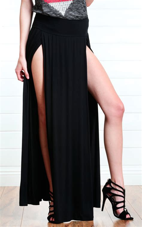 miranda slit maxi skirt black 183 fashion struck
