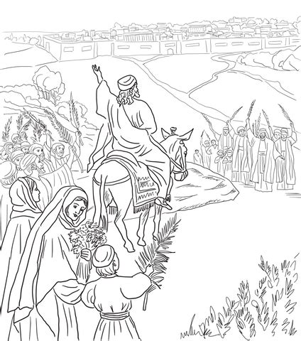 coloring page jesus rides into jerusalem triumphal entry into jerusalem coloring page free