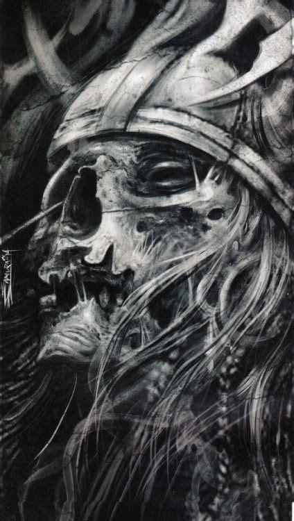 viking skull tattoos by ezequiel samuraii skull monsters