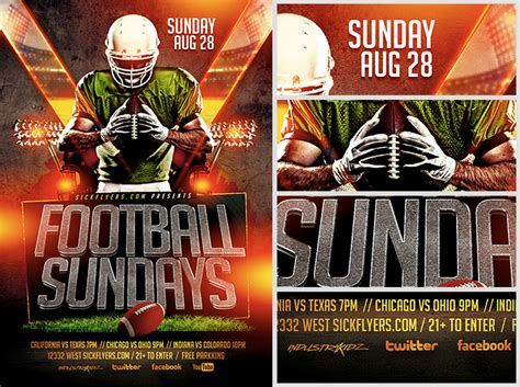 football flyers templates football sundays flyer template flyerheroes