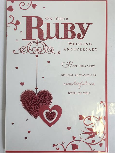 Wedding Anniversary Cards On by 40th Ruby Wedding Anniversary Card On Your Ruby Wedding