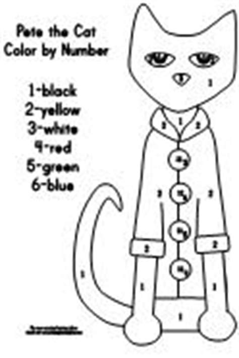 coloring page for pete the cat and his four groovy buttons pete the cat and his four groovy buttons color by number