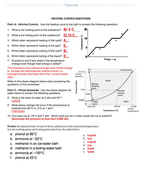 Heating Curve Worksheet Answer Key by Pictures Phase Diagram Worksheet Answers Getadating