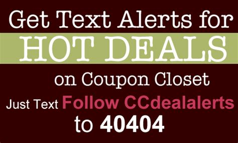 sign up for deals text alerts from coupon closet