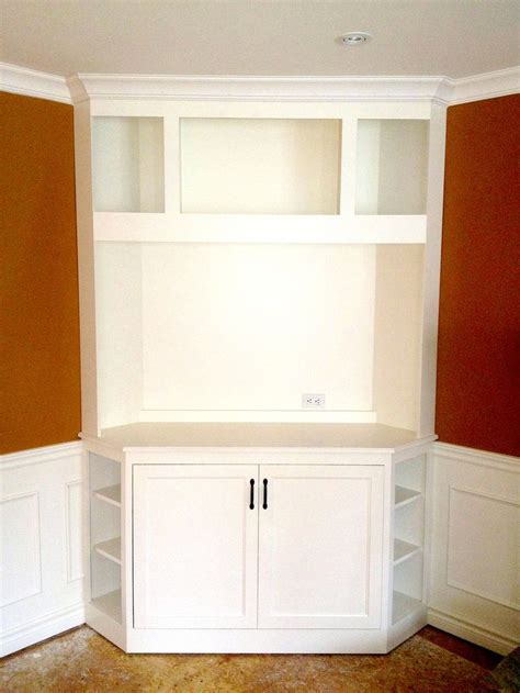 White Corner Television Unit With Display Shelves