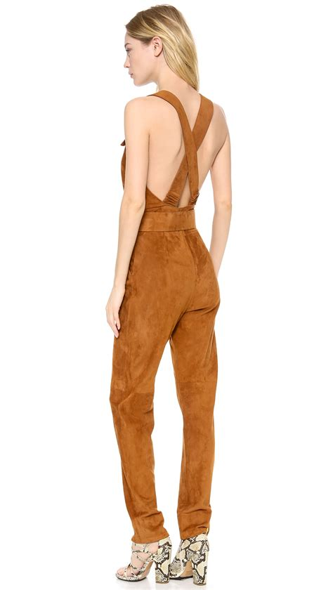 Brown Jumpsuit by Maison Ullens Leather Jumpsuit In Brown Lyst