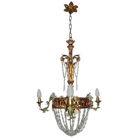 Prisms For Chandeliers Giltwood Tole Flowers Prisms Chandelier For Sale At 1stdibs
