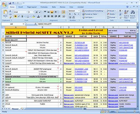 Bill Of Materials Excel Template by Bill Of Materials Template In Excel 2007