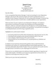 Cover Letter For Operations Manager by Operations Manager Cover Letter Exles Management Cover Letter Sles Livecareer