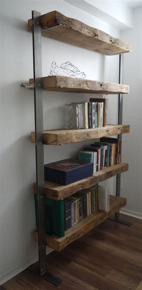 made reclaimed barn wood and metal shelves
