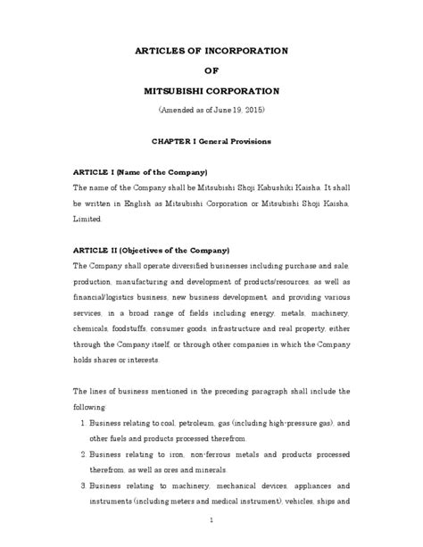 articles of incorporation template sle articles of incorporation template free