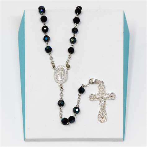 sterling silver rosary uk catholic gift shop ltd sterling silver miraculous black