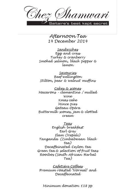 christmas tea menu afternoon tea sunday 14 december 2014