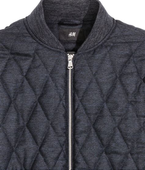H And M Quilted Jacket by H M Quilted Bomber Jacket In Blue For Lyst