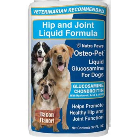 glucosamine for dogs dosage liquid glucosamine for dogs 32 oz bacon flavor osteo pet 174